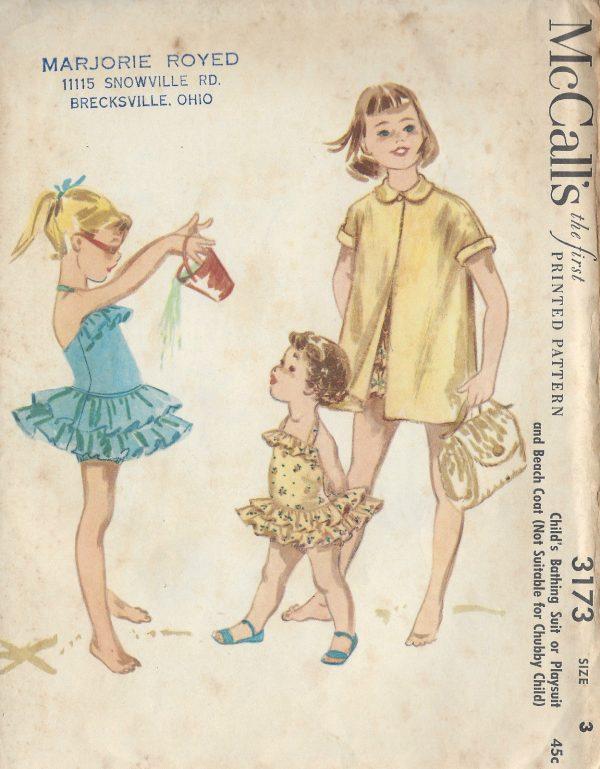 1955 Childrens Vintage Sewing Pattern S3 C22\