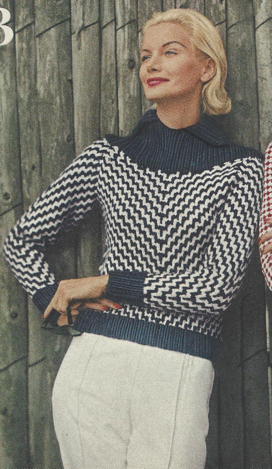 1959 vintage knitting pattern v101 by vogue the