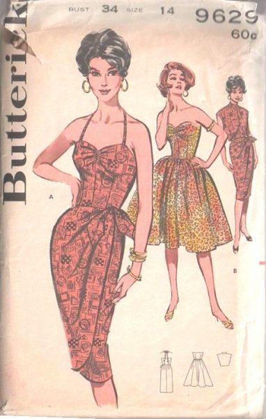 1960 Vintage Sewing Pattern B34 DRESS - SARONG DRESS & JACKET (1498 ...