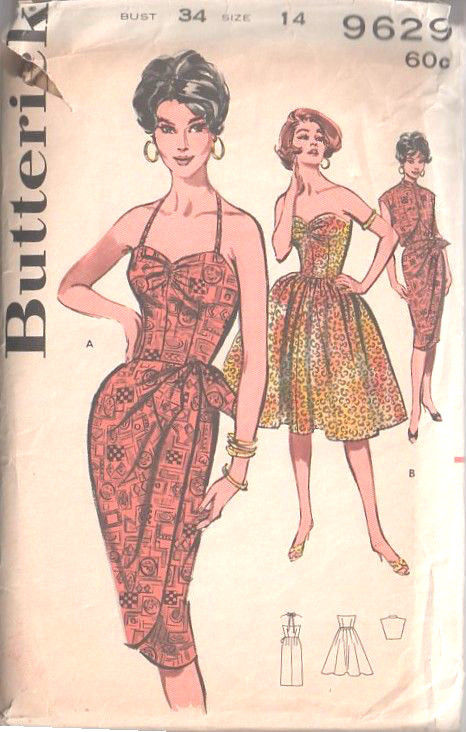 1960 Vintage Sewing Pattern B34 DRESS , SARONG DRESS \u0026 JACKET (1498)