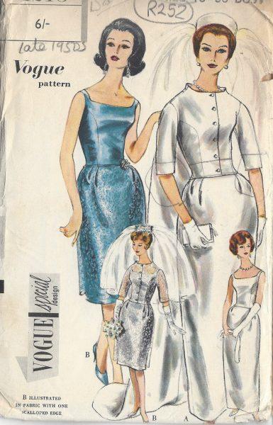 1960s Vintage VOGUE Sewing Pattern B36 WEDDING DRESS TRAIN JACKET R252
