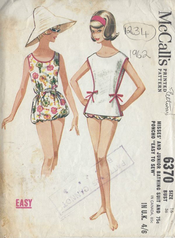 1962-Vintage-Sewing-Pattern-B36-BATHING-SUIT-PONCHO-1234-261457458069