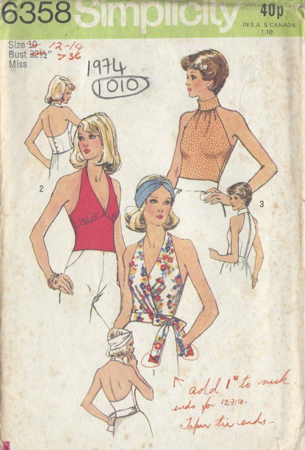 1974-Vintage-Sewing-Pattern-B32-12-TOP-1010-251283562699